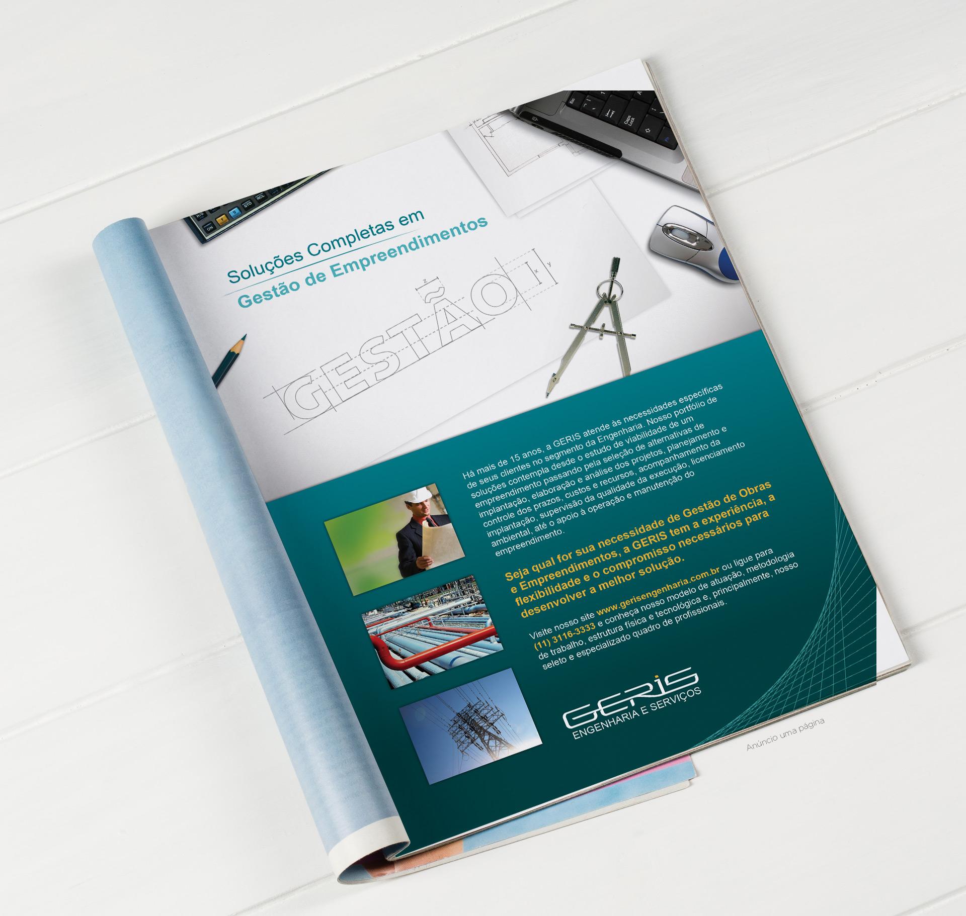 Anuncio de revista página inteira - Geris Engenharia
