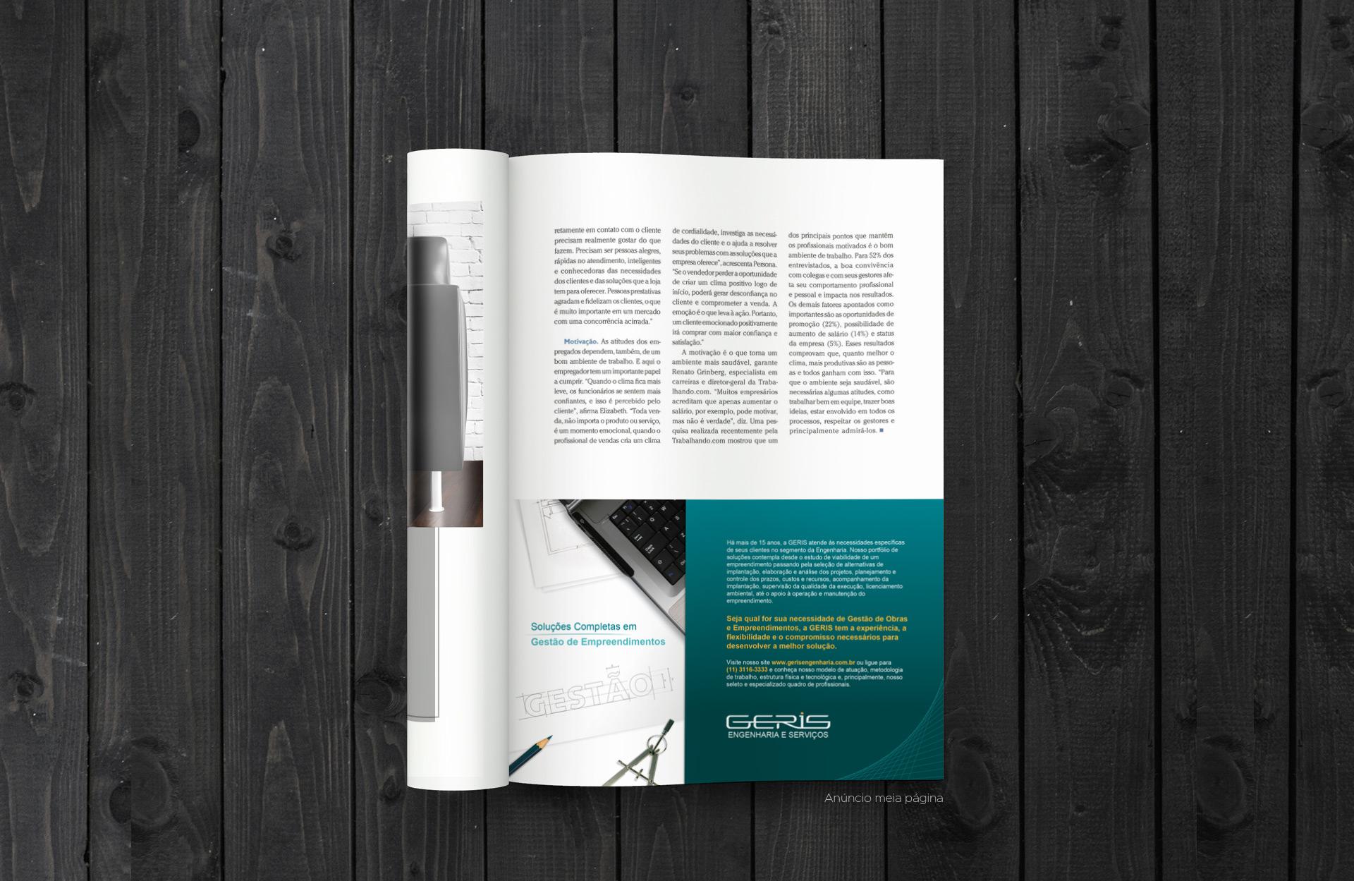 Anuncio de revista meia página - Geris Engenharia